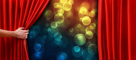 わずかに開いている劇場、映画館の舞台で赤いカーテン