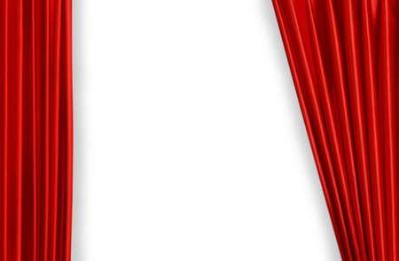 연극 또는 영화의 무대 약간 오픈에 빨간 커튼