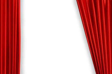 Red curtain on theater or cinema stage slightly open Stock Photo