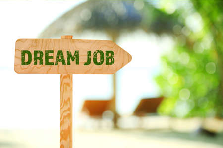 job advertisement: Dream job concept. Wooden sign board on nature background