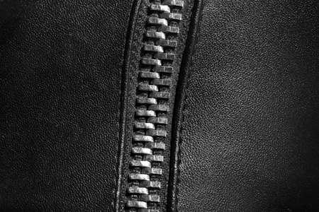 black leather texture: Black leather texture with metal zipper, closeup