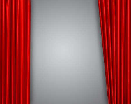 telon de teatro: Cortina roja en teatro o escenario cine ligeramente abierta