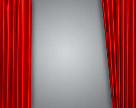 curtain: Red curtain on theater or cinema stage slightly open Stock Photo