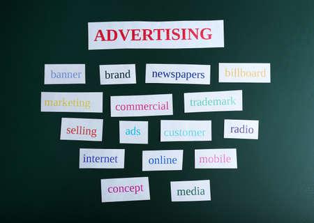 keywords: Themed keywords on green blackboard background Stock Photo