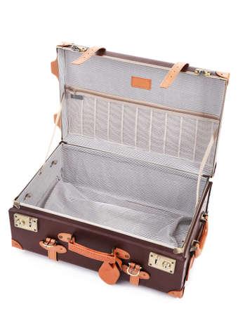 open suitcase: Empty open suitcase isolated on white Stock Photo