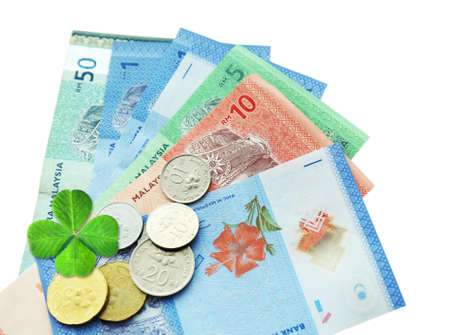 pile of money: Money banknotes and coins with clover leaf isolated on white