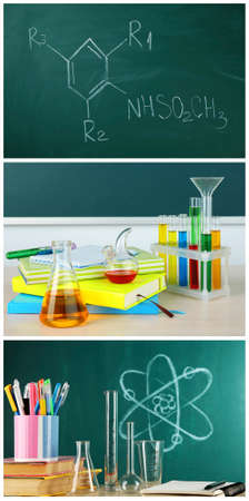 chemistry lesson: Chemistry lesson in school with test-tubes