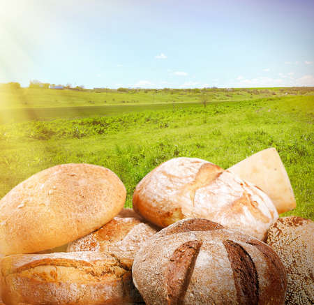traditional food: Fresh bread on wooden table, on nature background Stock Photo