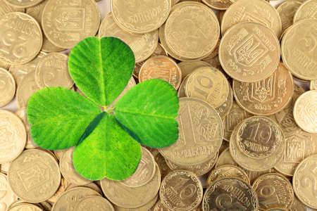 quarterfoil: Clover leaf and euro coins, close-up
