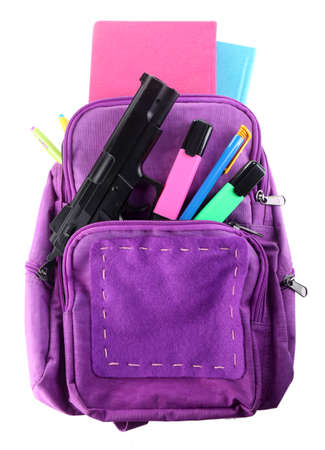 Gun in school backpack, isolated on white Stock Photo