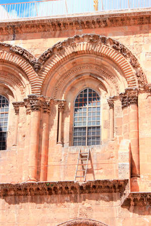 sepulchre: Immovable Ladder on the Church of the Holy Sepulchre in Old City of Jerusalem