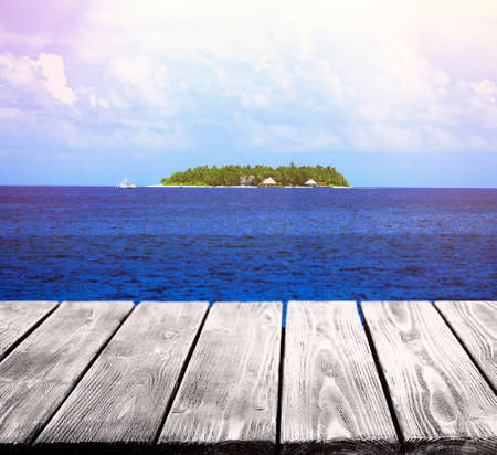 planck: Wooden pier with beautiful sea or ocean  background