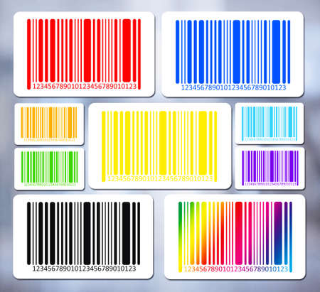 bar codes: Bright bar codes on abstract background. Vector image Stock Photo