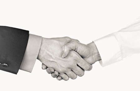 stylization: Business handshake, black and white retro stylization Stock Photo