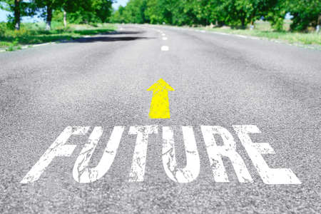 road surface: Future concept. Word Future with arrow marking on road surface