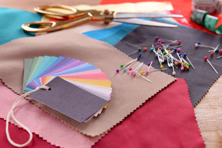 Samples of colorful fabric, closeup