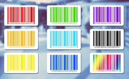 secret number: Bright bar codes on abstract background. Vector image Stock Photo