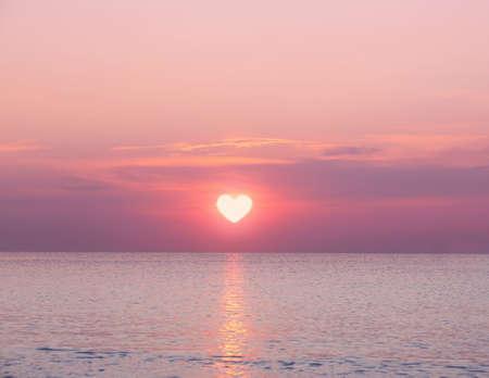 Beautiful sunrise on sea background Stock Photo