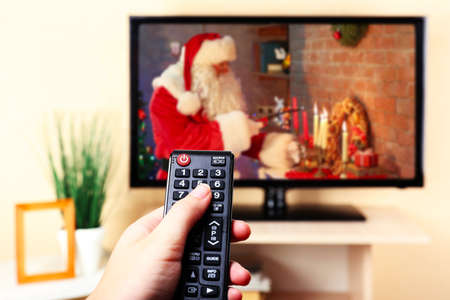 Christmas shows on TV Stock Photo