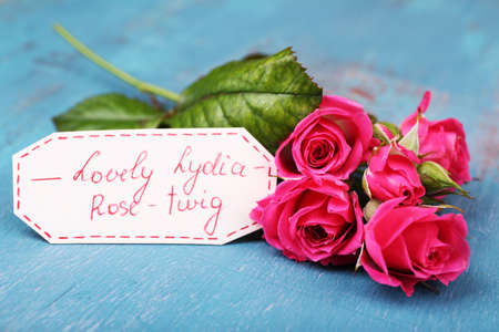 rosy: Beautiful rosy twig with tag on wooden background Stock Photo