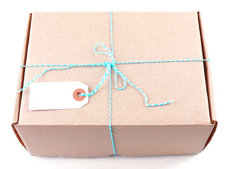 surprise box: Mail package parcel isolated on white