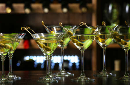 cocktail: Glasses of cocktails on bar background