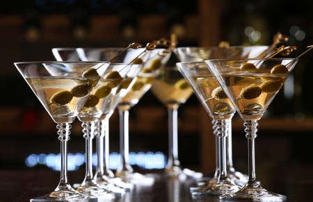 cocktail drink: Glasses of cocktails on bar background