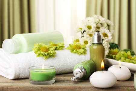 beauty product: Beautiful spa composition on fabric background