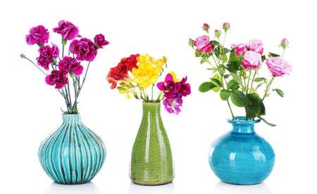 flor violeta: Diversas flores hermosas en los floreros aisladas en blanco
