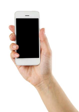 Hand hält mobilen Smartphone isoliert auf weiß