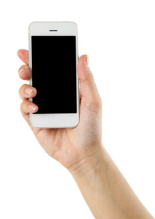 lady on phone: Hand holding mobile smart phone isolated on white