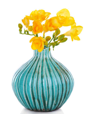 freesia: Beautiful freesia in vase isolated on white