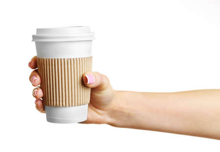 hold hands: Female hand with paper cup isolated on white Stock Photo