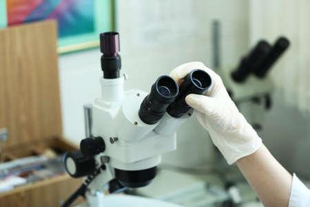microscope lens: Scientific microscope lens close-up in laboratory
