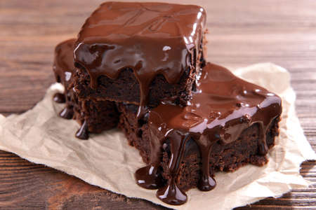 brownies: Delicious chocolate cakes on table close-up