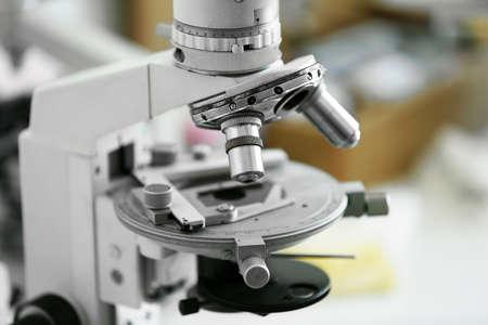 slide glass: Scientific microscope lens close-up in laboratory