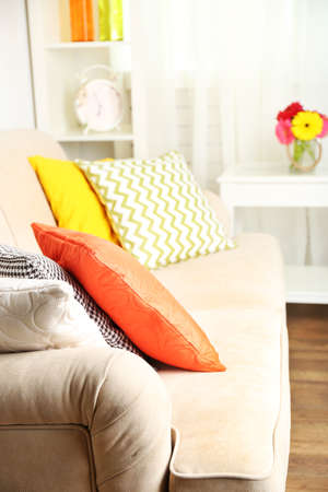 modern interior: Modern interior with comfortable sofa in room