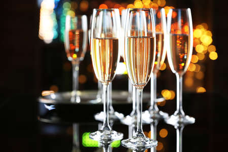 new years eve background: Glasses of champagne on bar background Stock Photo