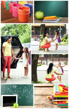 Collage of schoolgirl and her mother and education tools 版權商用圖片