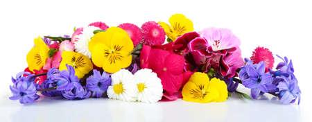 白で隔離明るい花の美しい花束 写真素材