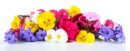 Beautiful bouquet of bright flowers isolated on white Фото со стока