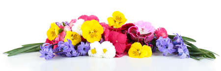 Beautiful bouquet of bright flowers isolated on white Banco de Imagens