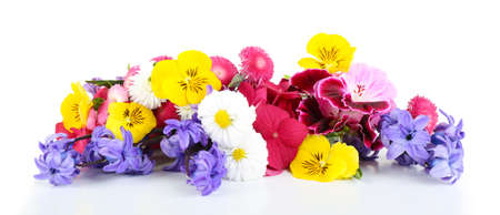 Beautiful bouquet of bright flowers isolated on white Foto de archivo