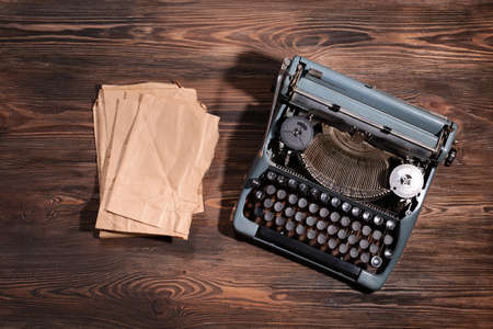vintage letters: Old retro typewriter on table close-up Stock Photo
