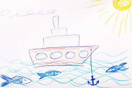 Kids drawing on white sheet of paper, closeup Фото со стока
