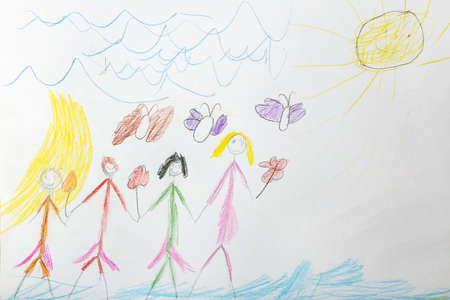 Kids drawing on white sheet of paper background
