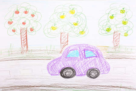 crayon: Kids drawing on white sheet of paper background