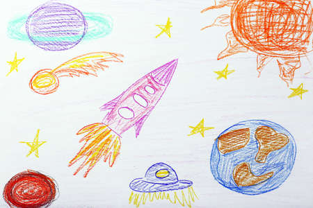 crayon: Kids drawing on white sheet of paper, closeup Stock Photo