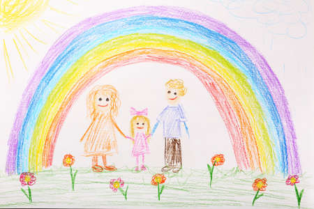 children play: Kids drawing on white sheet of paper background