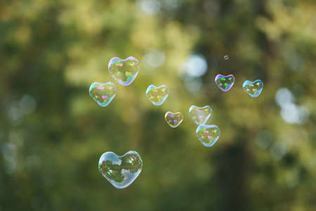 abstract heart background: Soap bubbles in heart shape outdoor Stock Photo